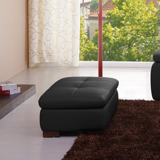 625 Italian Leather Ottoman, Black photo