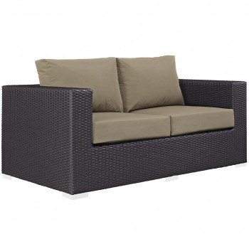 Convene Outdoor Patio Loveseat, Espresso, Mocha by Modway