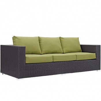 Convene Outdoor Patio Sofa, Espresso, Peridot by Modway