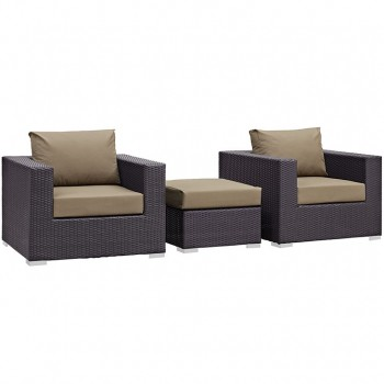 Convene 3 Piece Outdoor Patio Sectional Set, Espresso, Mocha by Modway