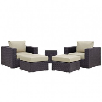 Convene 5 Piece Outdoor Patio Sectional Set, Сomposition 1, Espresso, Beige by Modway