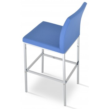 Aria Chrome Bar Stool, Sky Blue Camira Wool by SohoConcept Furniture