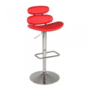 0642 Pneumatic Gas Lift Swivel Height Stool, Red by Chintaly Imports