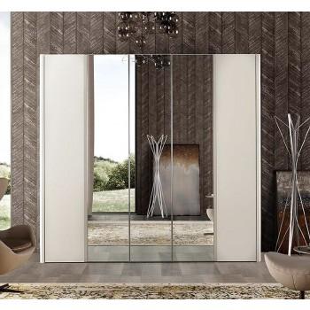 Luna 5-Door Wardrobe w/Mirror, White Ash