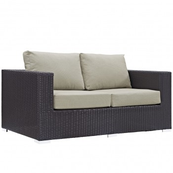 Convene Outdoor Patio Loveseat, Espresso, Beige by Modway