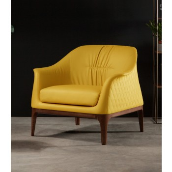 Tiffany Armchair, Canaletto Walnut Wood Base, Yellow Grain Leather