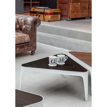 Adele Coffee Table, Matt White Metal Base, Heat-Treated Dark Oak Wood Top