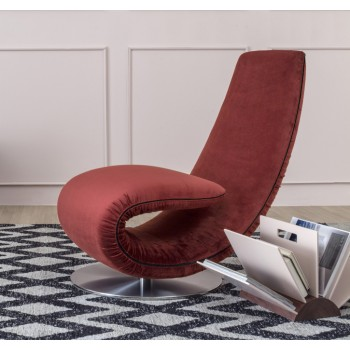 Ricciolo Chaise Lounge, Rusty Red Vega Velvet