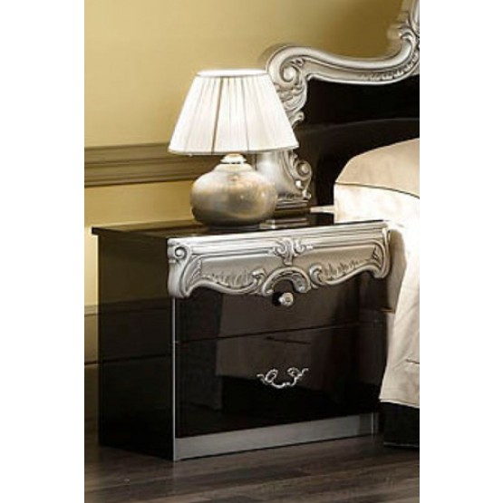 Barocco Nightstand, Black + Silver photo