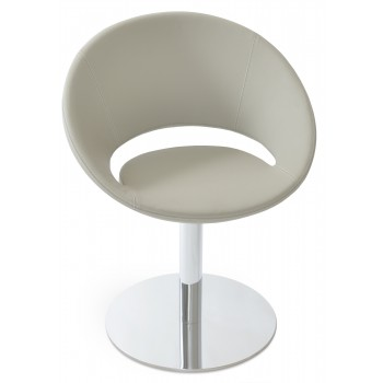 Crescent Round Swivel Chair, Bone PPM by SohoConcept Furniture