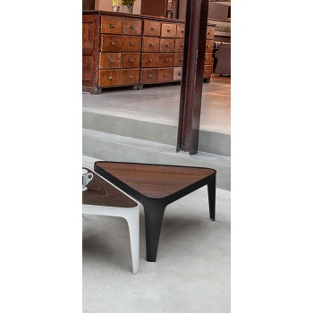 Adele Coffee Table, Matt Black Metal Base, Canaletto Walnut Wood Top