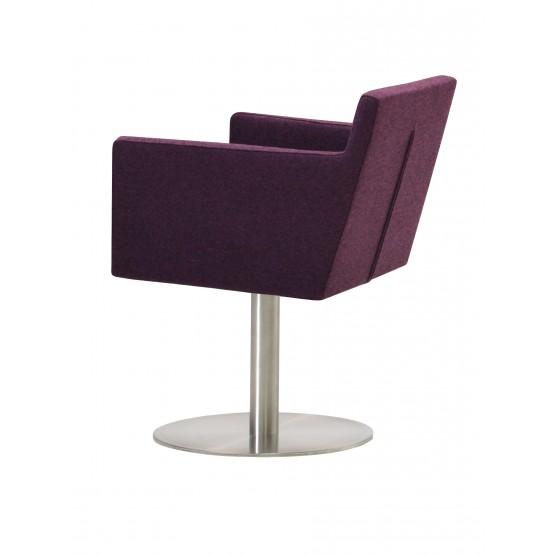 Harput Round Swivel Arm Chair, Deep Maroon Camira Wool photo