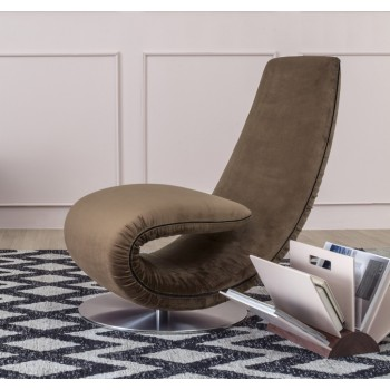 Ricciolo Chaise Lounge, Grey-Brown Vega Velvet