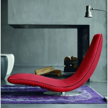 Ricciolo Chaise Lounge, Red Eco-Leather