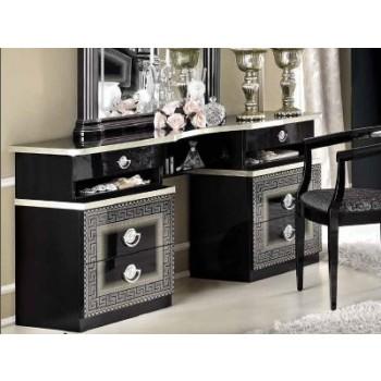 Aida Vanity Dresser, Black + Silver