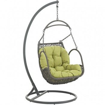 Arbor Outdoor Patio Wood Swing Chair With Stand, Peridot by Modway