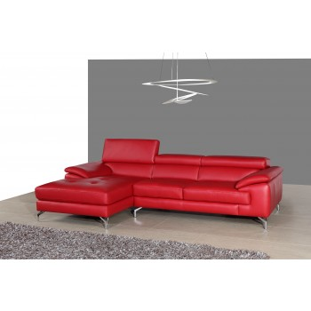 A973B Italian Leather Mini Sectional, Left Arm Chaise Facing, Red by J&M Furniture