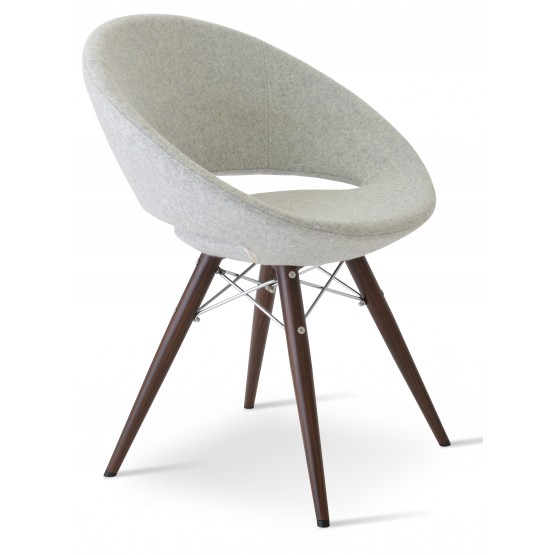 Crescent MW Plus Chair, Walnut Veneer Steel, Silver Camira Wool, Large Seat photo
