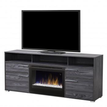 "Sander Media Console, Carbonized Walnut Finish, Glass Ember Bed 25"" Firebox"