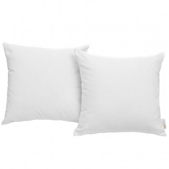 Convene Two Piece Outdoor Patio Pillow Set, Espresso, White by Modway