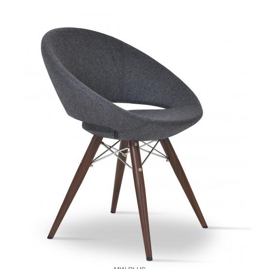 Crescent MW Plus Chair, Walnut Veneer Steel, Charcoal Wool, Large Seat photo