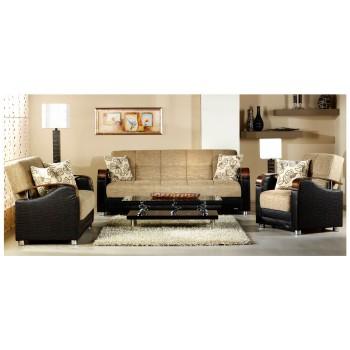 Luna 3-Piece Living Room Set, Fulya Light Brown