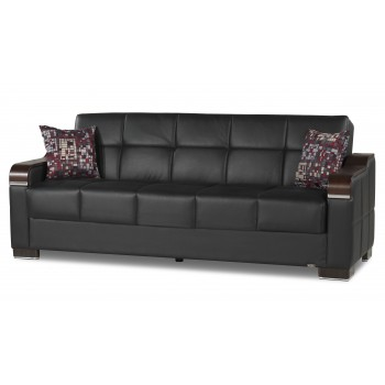 Uptown Sofa, Black Leatherrette by Casamode