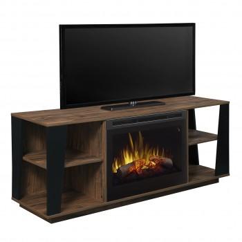 Arlo Media Console Electric Fireplace, Tan Walnut Finish, Inner Glow Logs (DFR2551) Firebox