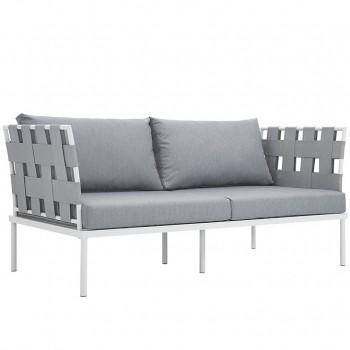 Harmony Outdoor Patio Aluminum Loveseat, White, Gray by Modway