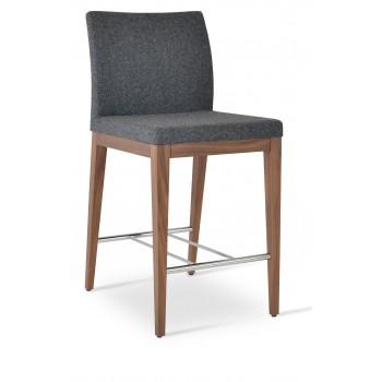 Aria Wood Bar Stool, Solid Beech Walnut Color, Dark Grey Camira Wool by SohoConcept Furniture
