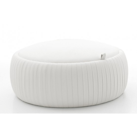 Plisse Medium Pouf, White Eco-Leather photo