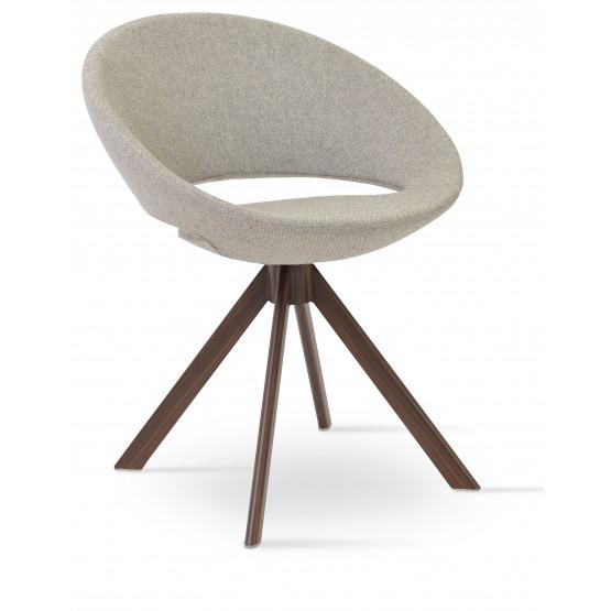 Crescent Sword Chair, Walnut Veneer Steel, Grey & Cream Camira Wool photo