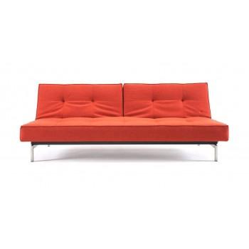Splitback Sofa Bed, 524 Mixed Dance Burned Orange Fabric + Stainless Steel Legs