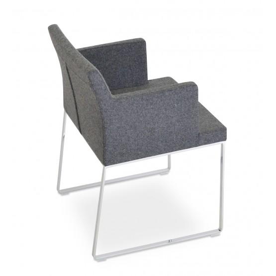 Soho Sled Arm Chair, Dark Grey Camira Wool photo