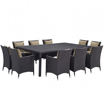 Convene 11 Piece Outdoor Patio Dining Set, Сomposition 2, Espresso, Mocha by Modway