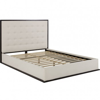 Madeline Queen Upholstered Bed Frame, Cappuccino Ivory by Modway