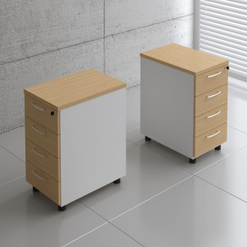 Basic KKT64 Fixed Pedestal w/4 Drawers, White + Beech