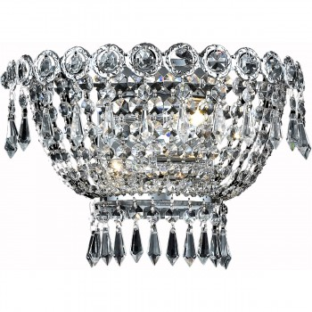 """Century 2-Light 12"""" Chrome Wall Sconce in Royal Cut"""