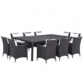 Convene 11 Piece Outdoor Patio Dining Set, Сomposition 2, Espresso, White by Modway