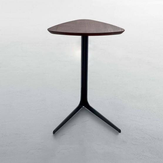 Celine Standard Side Table, Matt Black Metal Base, Chestnut  Finished Oak Wood Top photo