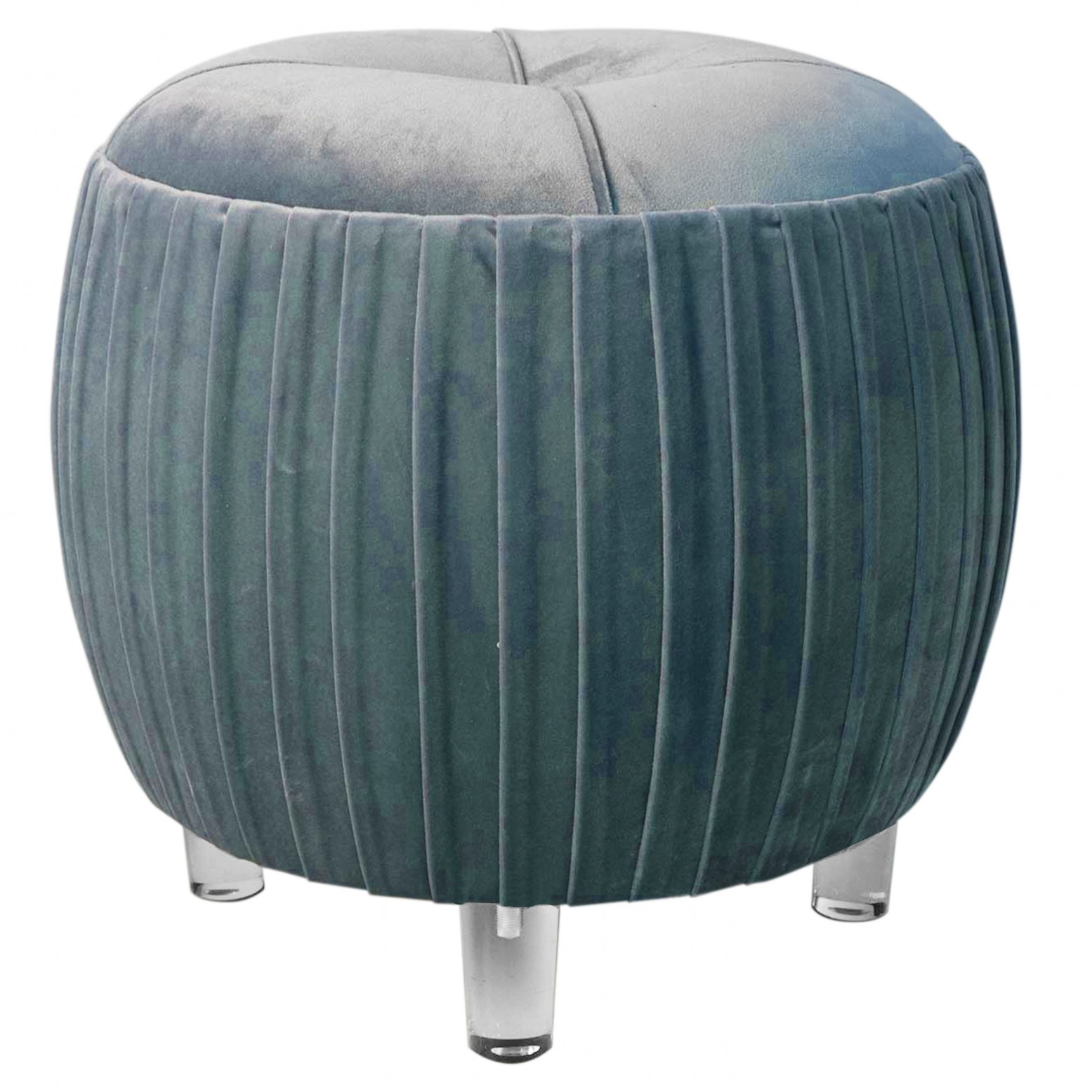 Enjoyable Helena Kd Small Round Tufted Ottoman Acrylic Legs Emerald Green Creativecarmelina Interior Chair Design Creativecarmelinacom