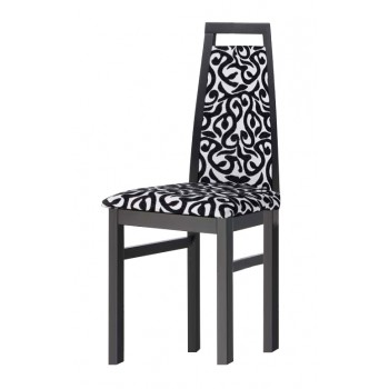 Ailin Dining Chair, Black Base, White + Black Upholstery