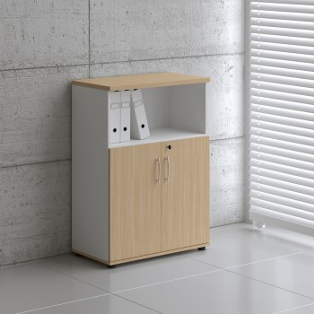 Basic K3404 2-Door Storage, White + Beech