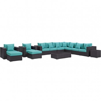 Convene 11 Piece Outdoor Patio Sectional Set, Espresso, Turquoise by Modway