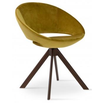 Crescent Sword Chair, Walnut Veneer Steel, Gold Velvet by SohoConcept Furniture