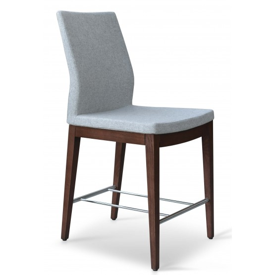Pasha Wood Counter Stool, Solid Beech Walnut Color, Silver Camira Wool, High Back photo
