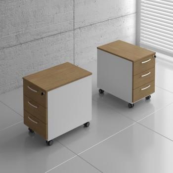 Basic KKT13 Mobile Pedestal w/3 Drawers, White + Canadian Oak