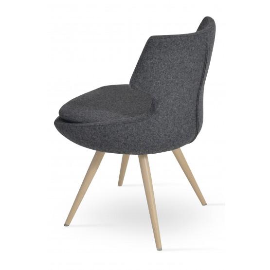 Patara Star Dining Chair, Natural Veneer Steel, Dark Grey Camira Wool photo