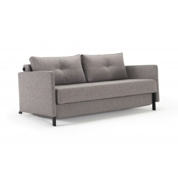 Cubed Deluxe Queen Size Sofa Bed w/Arms, 521 Mixed Dance Grey Fabric