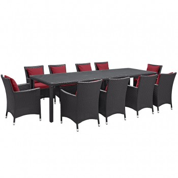 Convene 11 Piece Outdoor Patio Dining Set, Сomposition 1, Espresso, Red by Modway